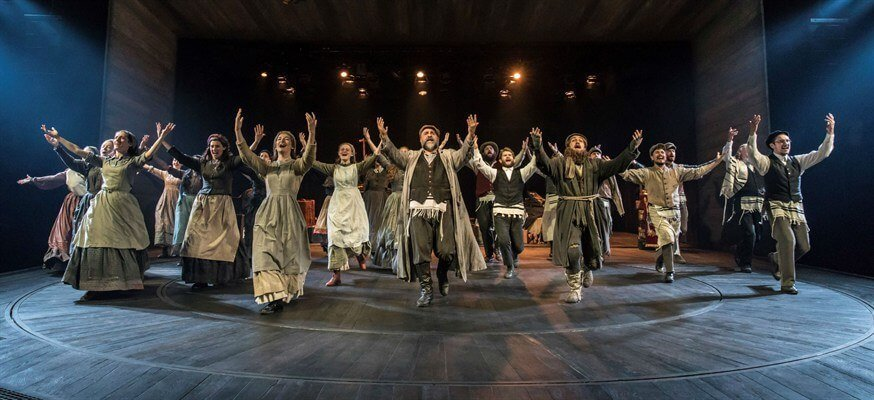 Omid Djalili (Tevye) and Company in Chichester Festival Theatre's production of Fiddler on the Roof. Photo Johan Persson